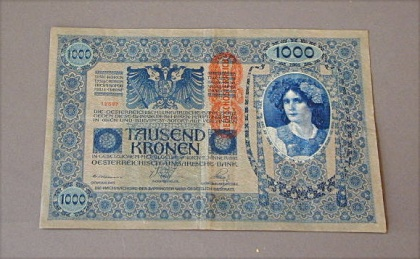 Banknote 'Thousand Crowns', Heinrich Lefler