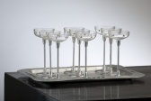 4 Glasses with tray, Otto  Wagner attr.