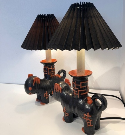 A Pair of Animals as a Lamp Base, Kitty Rix